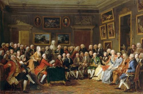 Anicet Charles Gabriel Lemmonier, Lecture de la tragédie de Voltaire, l'Orphelin de la Chine, dans le salon de Mme Geoffrin en 1755, huile sur toile, 129 x 196cm, Rueil-Malmaison, Musée national du Château de Malmaison.
