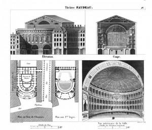 Alexis Donnet, Architectonographie des théâtres de Paris, ou Parallèle historique et critique de ces édifices considérés sous le rapport de l'architecture et de la décoration, Paris : P. Didot l'aîné, 1821, planche VII « théâtre Faydeau ».