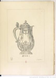 Pierre Germain, Planche III : Aiguière plate à côtes, dans 60 planches d'orfèvrerie de la collection de Paul Eudel…, Paris, Quantin, 1884
