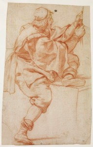 1. Lorenzo Lippi (1606-1665), Jeune homme vêtu d'une blouse, tirant sur une corde, sanguine, 410 x 260 mm, Paris : École nationale supérieure des Beaux-Arts ; n° d'inventaire : EBA 353.