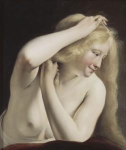 Fig. 3 - Salomon de Bray, Jeune femme nue, à mi-corps, en train de se peigner, ca. 1635, huile sur bois, 54 × 46 cm, Paris, musée du Louvre, département des Peintures, don de la Société des amis du Louvre en 1995.