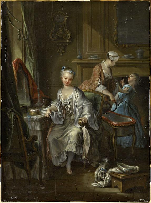 François Eisen, Jeune Femme à sa toilette, 1742, huile sur bois, 36,5 × 27,3 cm, Abbeville, musée Boucher-de-Perthes.