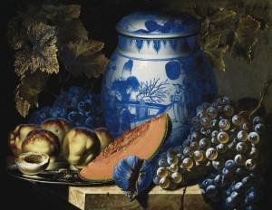 Pierre-Antoine Lemoine (1605-1665), Nature morte aux raisins, plat de pêches et potiche chinoise sur un entablement de pierre, peinture à l'huile sur toile, 50 x 61 cm, © D. Perronnet/Art digital studio & P. de Gobert