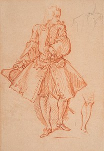 François Boucher (Paris 1703 - 1770), Étude d'un homme debout pour une illustration des Œuvres de Molière, ca. 1732-1734, craie rouge sur pierre noire, 316 x 227 mm.
