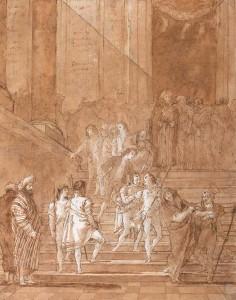 Gian-Domenico Tiepolo, Le mariage de la Vierge Marie, 1792, pierre noire, plume et encres brune et noire, lavis brun, 465 x 365 mm, signé et daté : « Domo Tiepolo f. 1792 ».