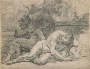 Charles Le Brun (Paris 1619 - 1690), La Nuit, ca. 1672, crayon, 168 x 218 mm, paire de dessins d'étude pour la décoration du Pavillon de l'Aurore du Château de Sceaux.
