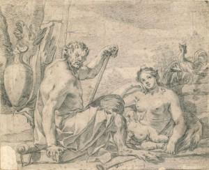 Charles Le Brun (Paris 1619 - 1690), L'Aurore, ca. 1672, crayon, 186 x 230 mm, paire de dessins d'étude pour la décoration du Pavillon de l'Aurore du Château de Sceaux.