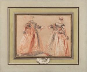 """Nicolas Lancret, Deux élégantes habillées """"à la Grecque"""" avec une étude de tête, ca. 1725-1728, trois crayons sur papier beige, 185 x 240 mm, ancienne collection Edmond et Jules de Goncourt."""