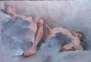 Domenico-Maria Canuti (Bologna 1626 - 1684), Étude d'homme nu allongé sur des nuages, une jambe relevée, XVIIe siècle, pierre noire, craie blanche et pastel, 286 x 421 mm; annotation au crayon « La fosse ».