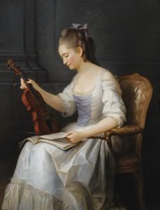 Anne Vallayer-Coster (1744-1818), Portrait d'une violoniste, 1773, peinture à l'huile sur toile, 116 x 96 cm, © D. Perronnet/Art digital studio & P. de Gobert