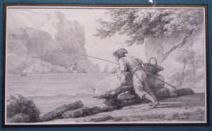Claude-Joseph Vernet (Avignon 1714 - Paris 1789), Pêcheur dans l'estuaire, XVIIIe siècle, pierre noire et lavis gris, 233 x 382 mm.