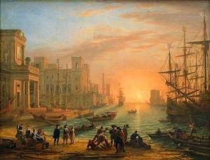 Claude Gellée dit Le Lorrain, Port de mer avec soleil couchant, 1639, huile sur toile, 103 x 137 cm, Paris, musée du Louvre.