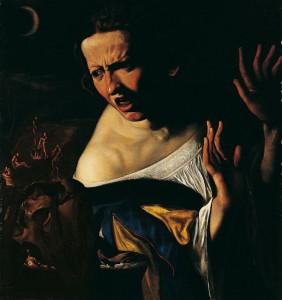Angelo Caroselli, Scène de sorcellerie ou L'Apprentie Sorcière, vers 1615 – 1620, huile sur toile, 66 x 61 cm, collection particulière.