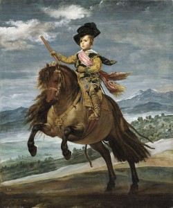 Diego Rodríguez de Silva y Velázquez (1599-1660), Portrait de l'infant Baltasar Carlos sur son poney, 1634-1635, Huile sur toile, 211,5 × 177 cm, Madrid, Museo Nacional del Prado.