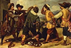 Diego Rodríguez de Silva y Velázquez (1599-1660) Rixe de soldats devant l'ambassade d'Espagne Vers 1630 Huile sur bois, 28,9 × 39,6 cm Rome, Galleria Pallavicini.
