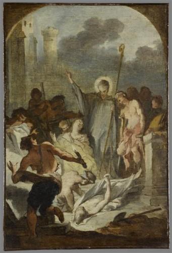Michel-François Dandré-Bardon, Saint Heldrad, ca. 1742, toile marouflée, 55 x 37 cm, Dijon, musée Magnin.