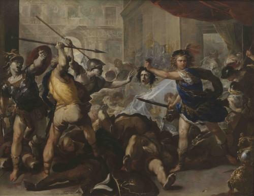 [Fig. 8] Luca Giordano, Persée transformant les disciples de Phinée en pierre, vers 1680, huile sur toile, 285 x 366 cm, Londres, The National Gallery.