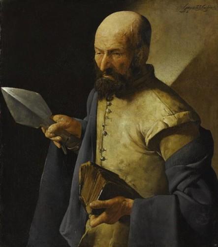 Georges de La Tour, Saint Thomas, XVIIe siècle, huile sur toile, 071 x 0,51 m, Paris, musée du Louvre.