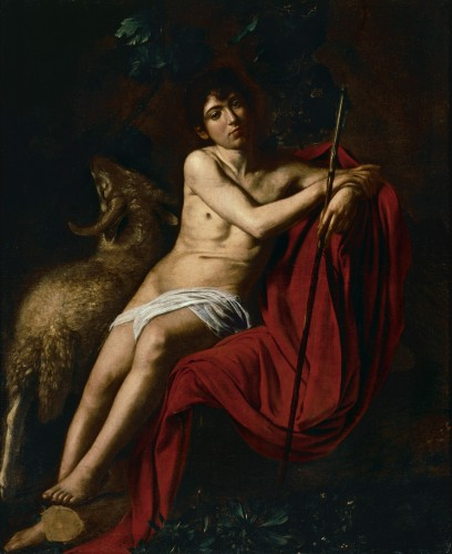 [Fig. 3] Michelangelo Merisi da Caravaggio, dit Caravage, Saint Jean-Baptiste, vers 1609-1610, huile sur toile, 152 x 125 cm, Rome, Galerie Borghese.