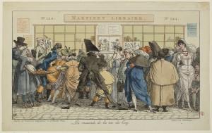 Anonyme, Les musards de la rue du Coq ou La boutique du marchand d'estampe Martinet, vers 1810, eau-forte coloriée, 21,9 x 37 cm, Paris, musée Carnavalet. © Musée Carnavalet / Roger-Viollet