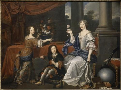 D'après Pierre Mignard, Louise de la Beaume le Blanc, duchesse de la Vallière et ses enfants, Marie Anne de Bourbon (1666-1739), future princesse de Conti et Louis de Bourbon (1667-1683) le comte de Vermandois, XVIIe siècle, huile sur toile, Versailles, musée national des châteaux de Versailles et de Trianon.