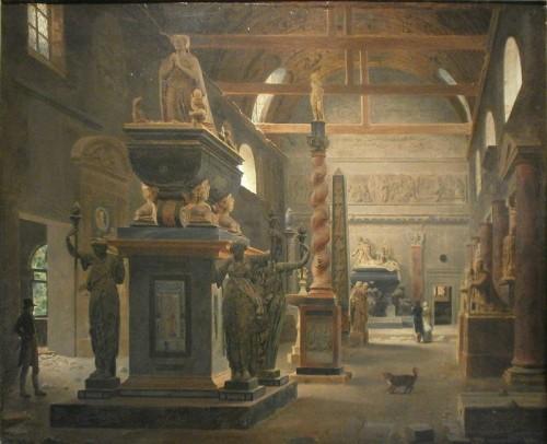 Jean-Lubin Vauzelle, La salle d'introduction du musée des Monuments français, 1804, huile sur toile, Paris, musée Carnavalet.