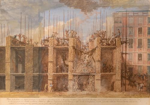 Louis-Nicolas Van Blarenberghe, Vue de l'accident survenu en 1759 sur le chantier de l'Hôtel des Affaires étrangères et de la Marine à Versailles, 1759, Versailles, BMV, ©Pierrick Daul.