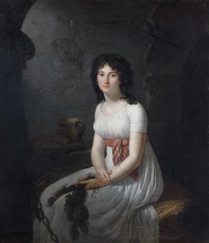 Jean-Louis Laneuville, La Citoyenne Tallien dans un cachot à la Force, ayant dans les mains ses cheveux qui viennent d'être coupés, huile sur toile, 128,9 x 112,3 cm.