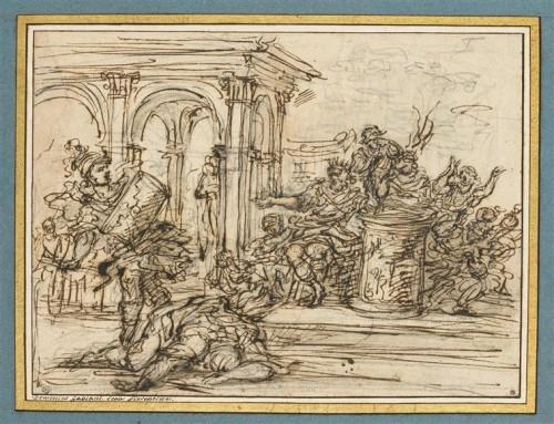 Giovanni-Battista Foggini, Mucius Scaevola tuant le secrétaire du roi Porsenna, XVIIe-XVIIIe siècle, plume et encre brune sur papier, 19,7 x 26,4 cm, Paris, musée du Louvre.