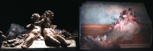 Ill. 4. Augustin Pajou, portion de la corniche avec des putti (à gauche au premier plan) ; Louis-Jacques Durameau, Le lever de l'Aurore (fragments), 1768-1769, peinture à l'huile sur toile (à gauche au second plan et à droite).