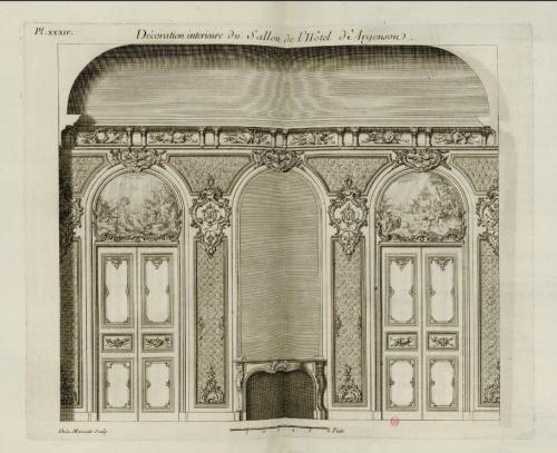 Ill. 1. De La Marcade, « Décoration intérieure du sallon de l'hôtel d'Argenson », in BOFFRAND Germain, Livre d'Architecture, 1745, pl. XXXIV.