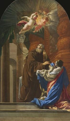 Simon Vouet, Saint François de Paule ressuscitant l'enfant de sa sœur, 1648, huile sur toile, Québec, église Saint-Henri-de-Lévis.