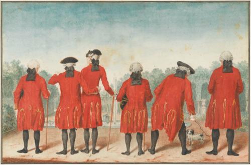 Louis Carrogis dit Carmontelle, Les Gentilshommes du duc d'Orléans dans l'habit de Saint-Cloud, dessin, 26,3 x 40,0 cm.