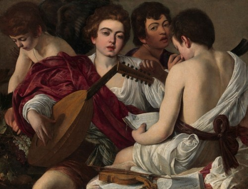 Michelangelo Caravaggio, Les Musiciens, ca. 1595, huile sur toile, 92,1 x 118,4 cm, New York, The Metropolitan Museum of art.