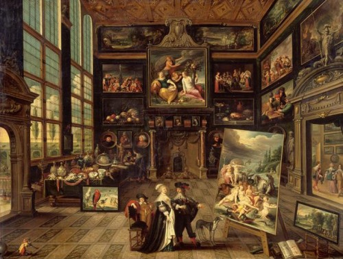 Cornelis de Baellieur, Intérieur d'une galerie de tableaux et d'objets d'art, 1637, huile sur bois, 93 x 123 cm, Paris, musée du Louvre.