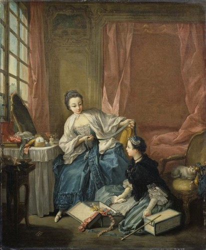 François Boucher, La modiste, ca. 1746, huile sur toile, 63 x 51 cm, Londres, Wallace collection.