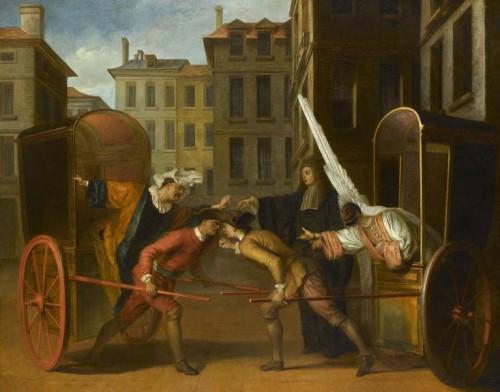"""Claude Gillot, Les Deux carrosses (scène de la comédie """"la Foire Saint-Germain), début du XVIIIe siècle, huile sur toile, 127 x 160 cm, Paris, musée du Louvre."""