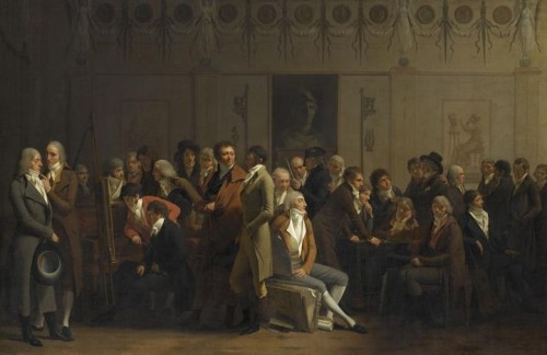 Louis Léopold Boilly, Réunion d'artistes dans l'atelier d'Isabey, 1798, huile sur toile, 71 x 111 cm, Paris, musée du Louvre.