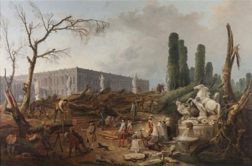 """Hubert Robert, Vue du Bosquet des """"Bains d'Apollon"""", 1774, huile sur toile, 128 x 192 cm, Versailles, musée national des châteaux de Versailles et de Trianon."""