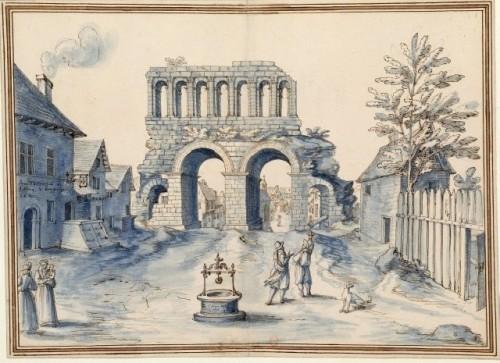 Etienne Martellange,  Veüe d'un ancien Arc de triomphe à Autun, 1611, encre, plume et lavis sur papier, Paris, Bibliothèque nationale de France.