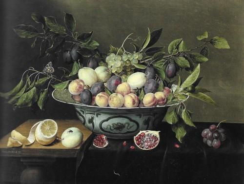 Jacob van Hulsdonck, Pêches, prunes et raisins dans une coupe en porcelaine bleue de Chine, hst, 48 x 64 cm