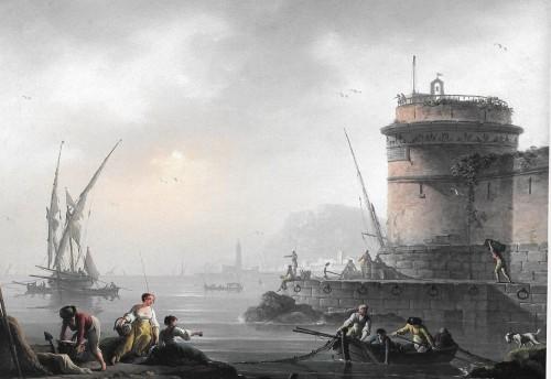 Charles-François Lacroix de Marseille, Port animé de personnages, hst, 39 x 54 cm