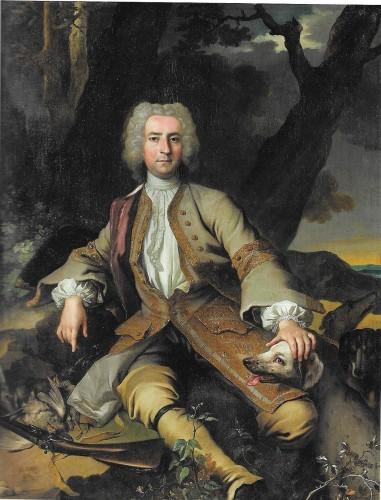 Jean-Baptiste Oudry, Portrait d'homme en chasseur, hst, 146 x 112 cm