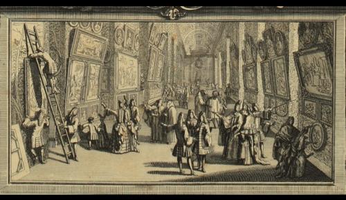 Nicolas Langlois, Almanach pour l'année 1700, Vue du Salon de peinture et de sculpture de l'année 1699 (détail), 1700, eau-forte et burin, 88 x 55 cm, Paris, Bibliothèque nationale de France.