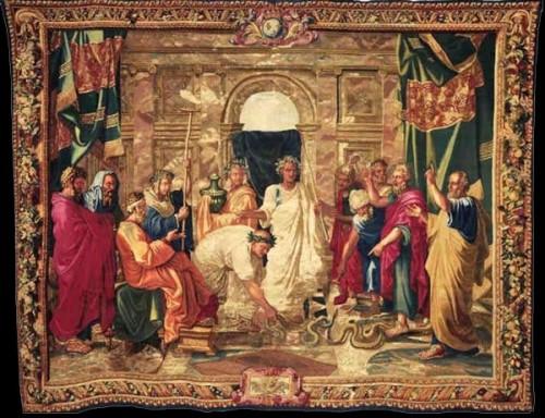 Manufacture des Gobelins, carton peint par François Bonnemer d'après Nicolas Poussin, Moïse changeant la verge d'Aaron en serpent, tapisserie de haute lisse composée de laine et de soie, rehaussée d'or, 3,6 x 4,68 m, 1685, Paris, Mobilier national.