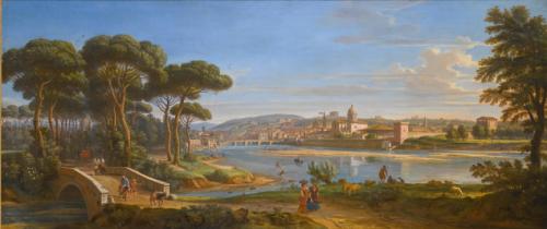 Gaspar van Wittel dit Vanvitelli, Florence vue de la rive droite de l'Arno, vers 1700, huile sur toile, 71 x 170 cm.