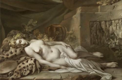 Jean-Baptiste Marie Pierre, Bacchante endormie, 1763, huile sur toile, 71 x 105 cm, Paris, Galerie Aaron.