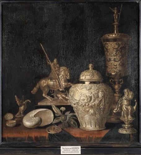 Pieter Gerritsz Van Roestraeten, Nature morte aux pièces d'orfèvrerie, XVIIe siècle, 73 x 72 cm, La Fère, musée Jeanne d'Aboville.