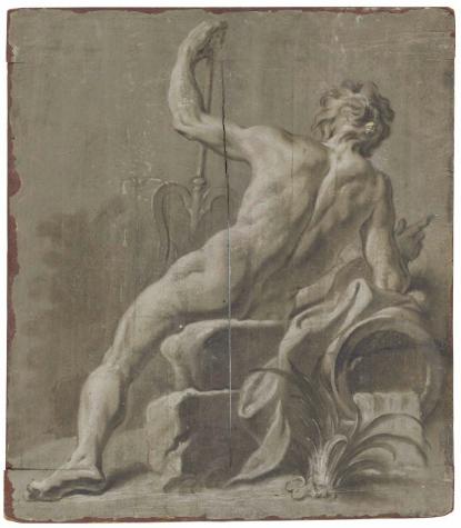 Guillaume-Thomas-Raphaël Taraval, Neptune vu de dos, grisaille, 57.5 x 50.2 cm.