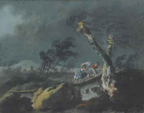 Jean Pillement, Figures sur un pont pendant l'orage, pastel, 42,7 x 53,5 cm.